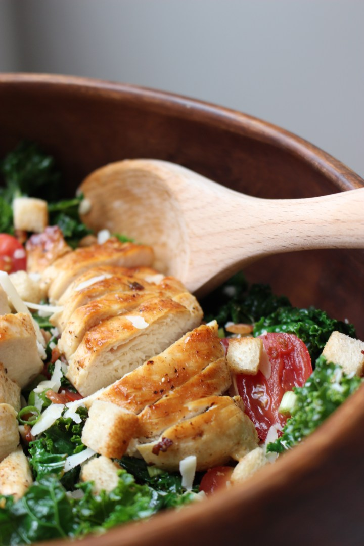 Kale Salad with Homemade Bacon Croutons