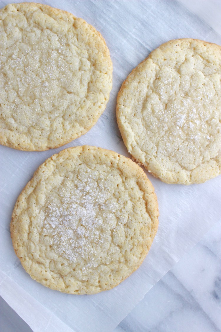 An easy recipe for homemade, no chill sugar cookies! These use sour cream to get soft and chewy on the inside and crispy on the outside.