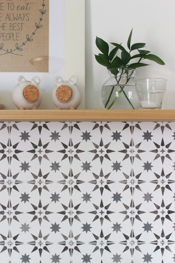 DIY tile backsplash with a stencil details