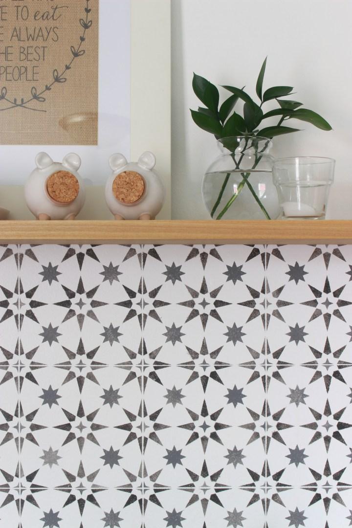 DIY tile backsplash with a stencil details