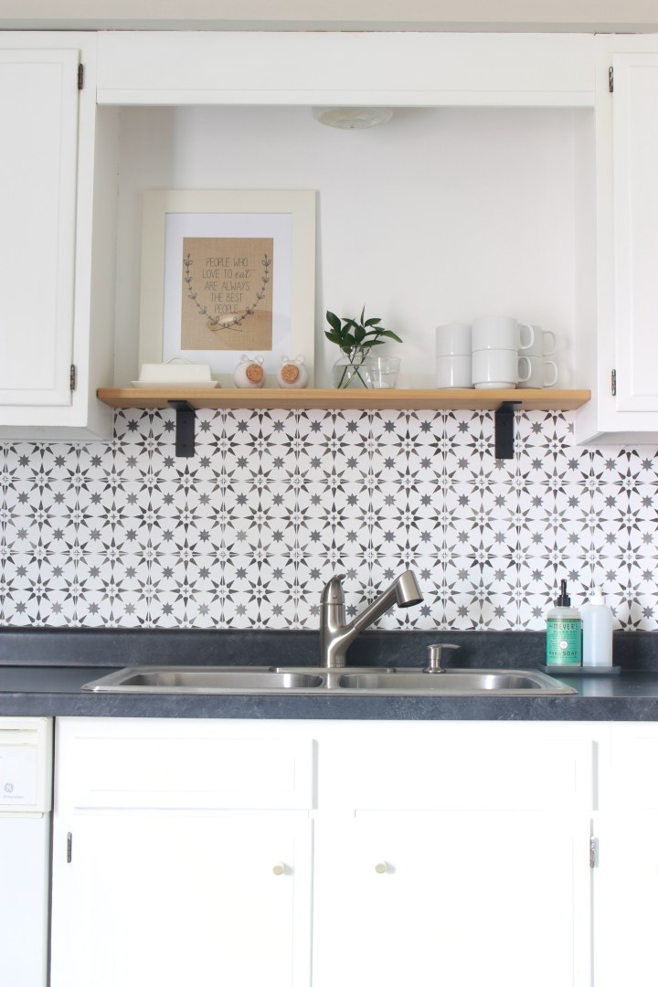 DIY stenciled tile backsplash