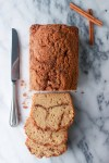 sliced cinnamon quick bread with streusel topping