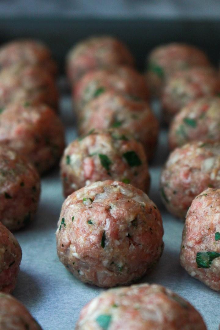 italian meatballs ready to bake