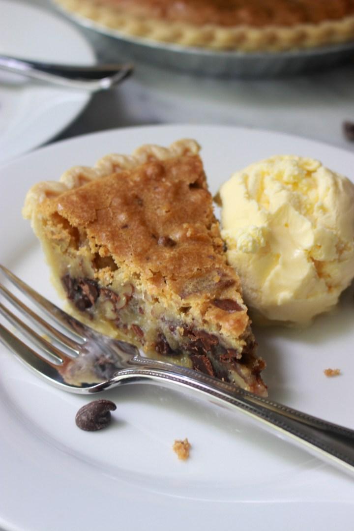 slice of derby pie with ice cream