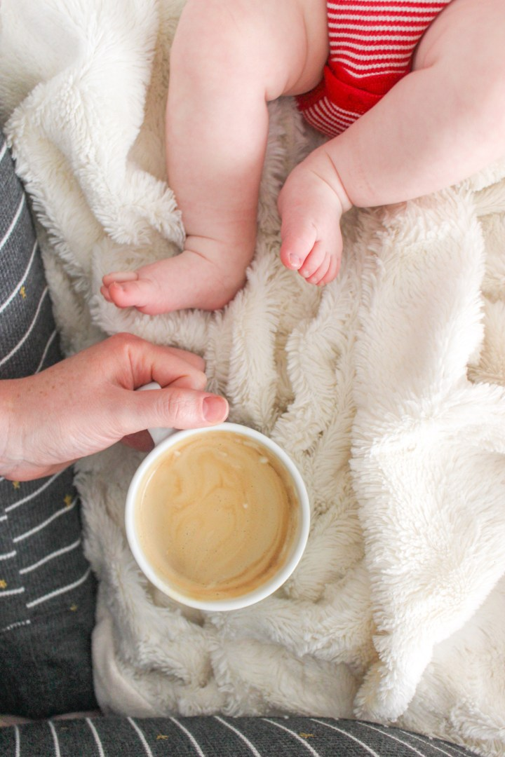 baby feet and latte