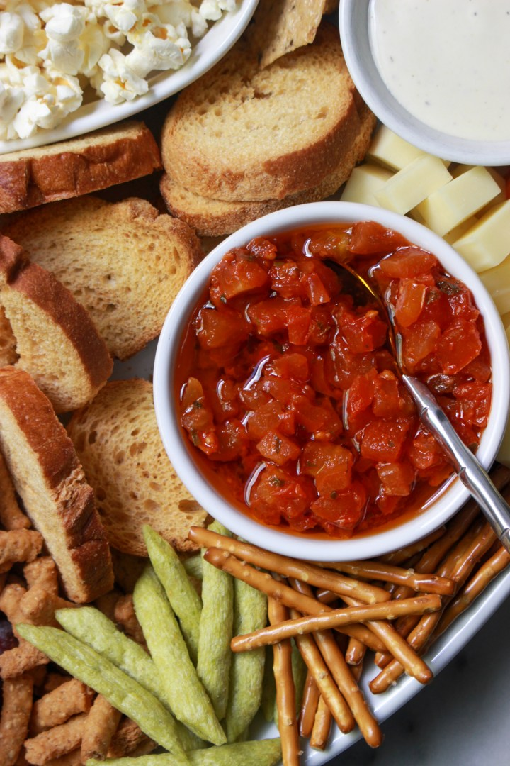 close up of foods on grazing platter
