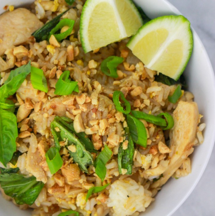 bowl of basil fried rice with chicken
