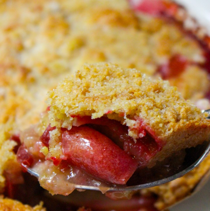 spoonful of plum and apple crumble