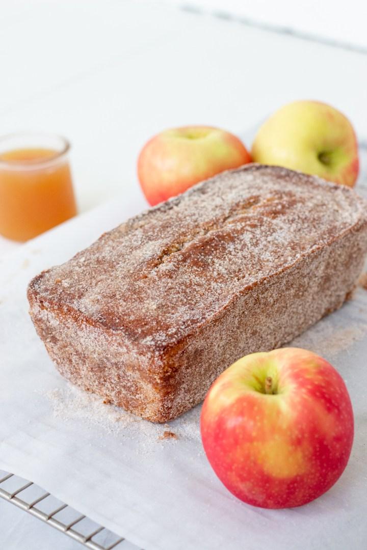 cinnamon sugar on apple cider loaf cake
