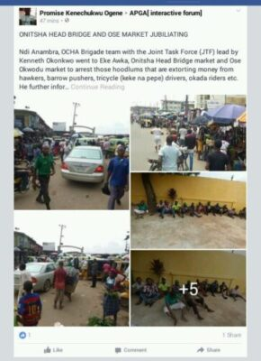 b8057  20161011 070646 707651 - Onitsha Market Jubilates As Security Agents Nab Hoodlums Who Extort Money From Traders (Photos)