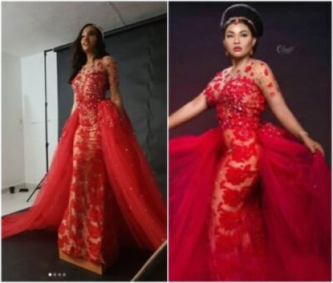 mercy 482x410 - A Model Wore That Controversial Wedding Dress Before Mercy Aigbe (Photos)
