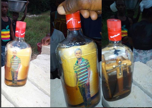 screenshot_1 Strange Bottle With Human Picture And Cross Found In Ghana River (Photos)