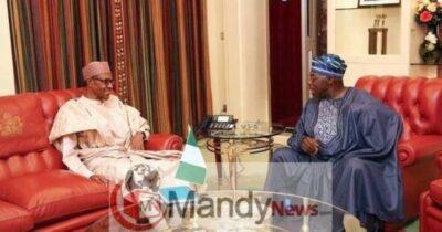 2018 5large buhari and obasanjo 12059616733 - Obasanjo And Buhari Meet, Shake Hands At Council Of State Meeting (Photos)
