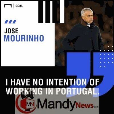 """8470804 20190110181716 jpeg677bf7092bedf36c99e456473b30340b535128870 - """"I Have No Plans To Work In Portugal"""" - Jose Mourinho Rules Out Benfica Return"""