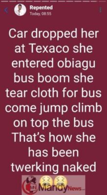 8560062 repented jpegd93dd5c885d18584eba835a4a31c202d126935857 - Lady Strips Unclad, Runs Mad In Enugu After Car Dropped Her Off
