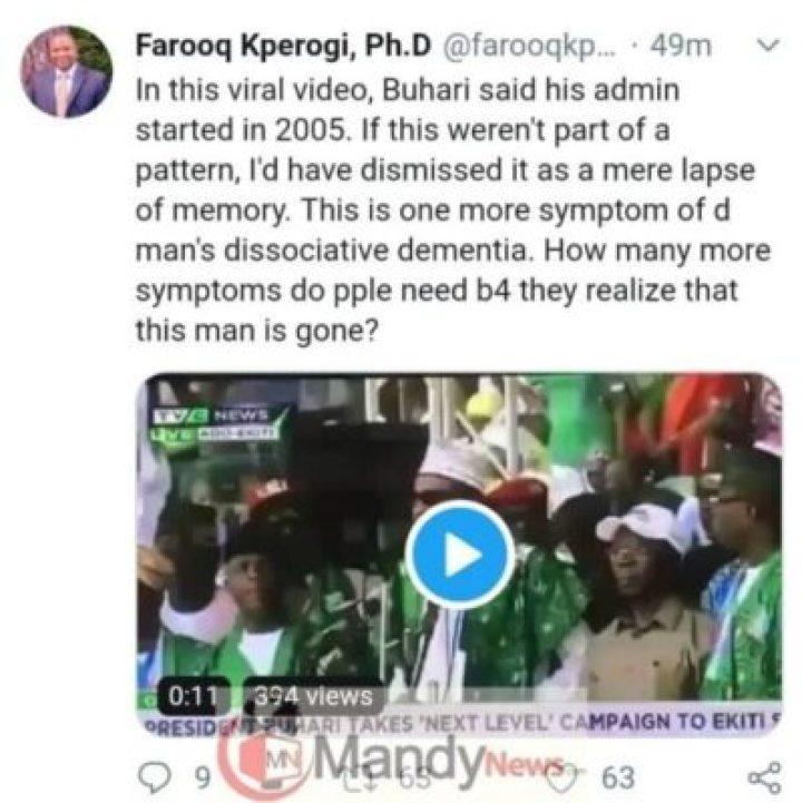 "8684463_img20190205wa0038_jpeg67924544088b59df84991558fca2ceba533154122 ""Dementia, Buhari Is Gone"": Associate Prof. Reacts To PMB's ""2005 Blunder"" In Ekiti"