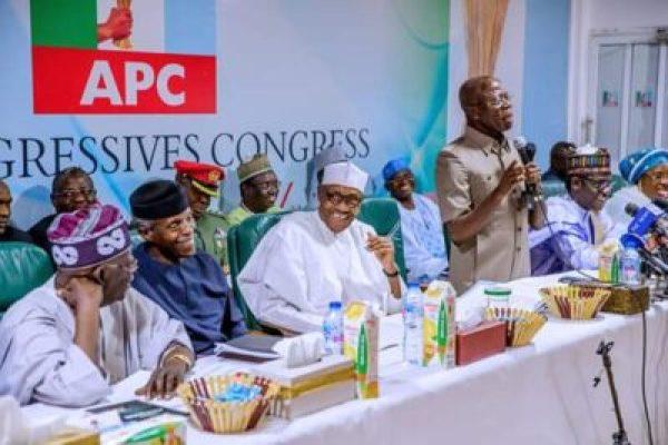 8800009_fbimg1550496607696_jpegf508226daba1a8981687c28a00962c61 Buhari, Tinubu, Oshiomhole, Amaechi, Others At APC Caucus Meeting In Abuja (Pix)