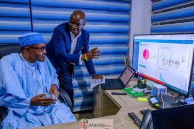 D0RoTCSXQAUXWMu 1024x683 - President Buhari Visits APC Situation Room In Abuja (Pictures)