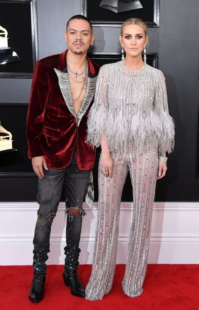 evan ross and ashlee simpson attend the 61st annual grammy news photo 1128775134 15498428321477200187 - All Grammys 2019 Red Carpet Celebrity Dresses & Looks (Photos)