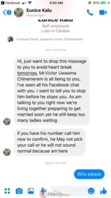 FB IMG 15534917859859797 - Nigeria Feminine Soldier Expose Shameless Married Man On Fb. See Why (Pictures)