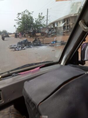 IMG 20190318 154510 - Youths Set PHCN Office Ablaze In Osun Over Blackout (Photos)