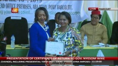 57222230 2187705287983377 719382875773861888 n - INEC Presents Certificates Of Return To Wike, Lawmakers In Rivers.
