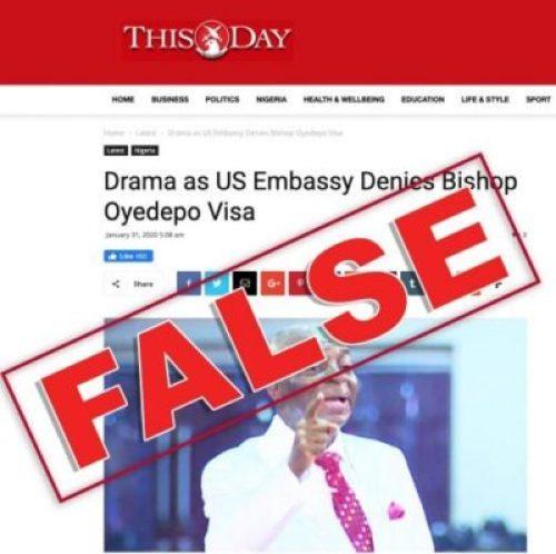 US Embassy says Oyedepo Wasn't Denied Visa