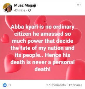 Ganduje's Commissioner 'Celebrates' Abba Kyari's Death