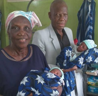 68-year-old woman who delivered set of twins and her husband