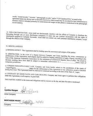 Here's Contract Between Cynthia Morgan And Jude Okoye (Full Details)