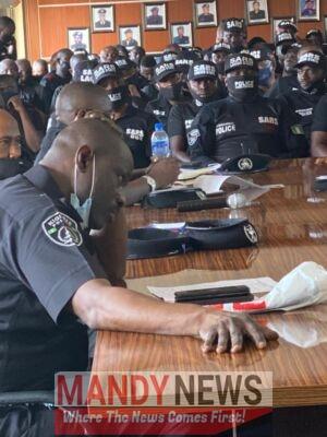 Lagos Police Commissioner, Hakeem Odumosu Meet SARS Officers In Lagos