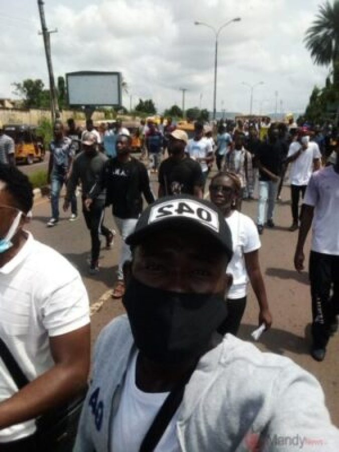 Photos From Enugu EndSARS Protests; Lead By Flavour and Phyno