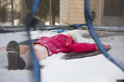 Snow angels on the trampoline.