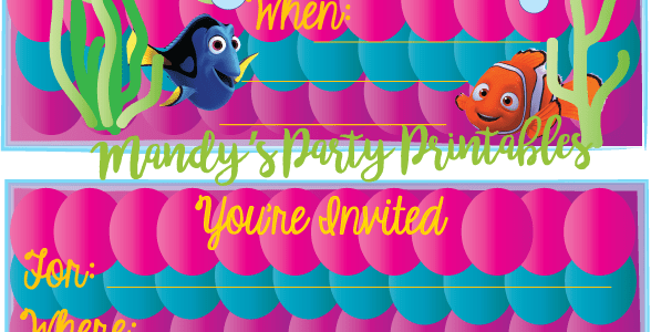 Free Girly Finding Dory Birthday Party Invitation complete with purple, pink, and greens!