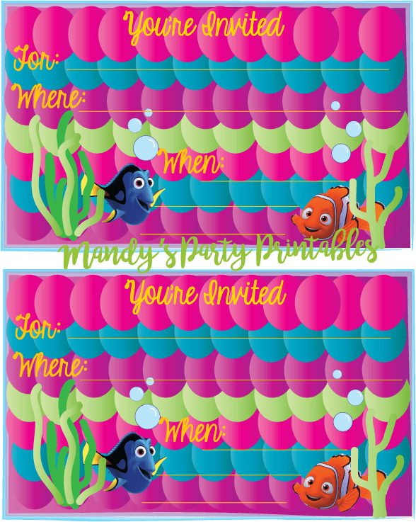 Free Girly Finding Dory Birthday Invitation complete with purple, pink, and greens!