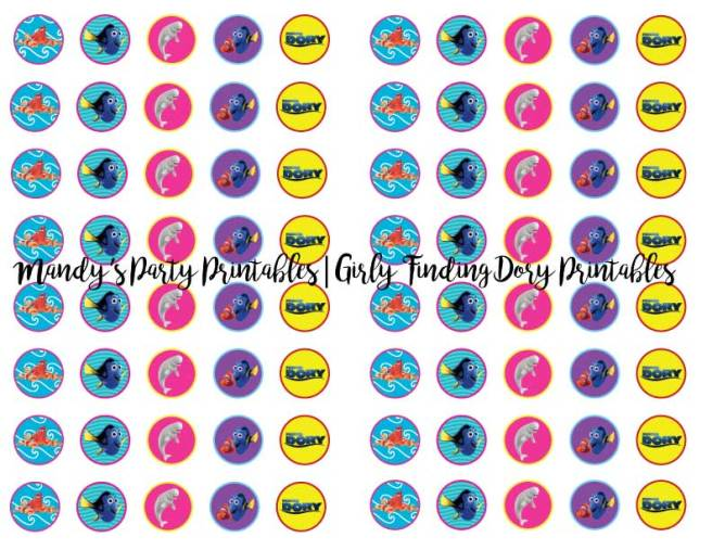 Girly-Finding-Dory-Kisses-and-Rolos-Stickers | Mandy's Party Printables