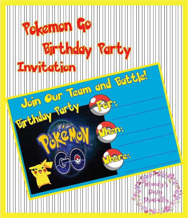Pokemon Go Birthday Invitation | Mandy's Party Printables