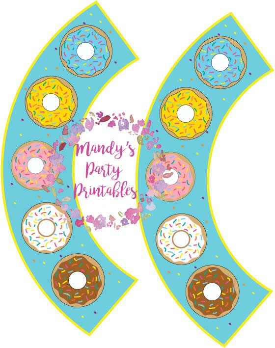 Free Donut Cupcake Wrappers in Blue from Mandy's Party Printables | mandyspartyprintables.com