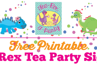 Free Printable T Rex Tea Party Sign