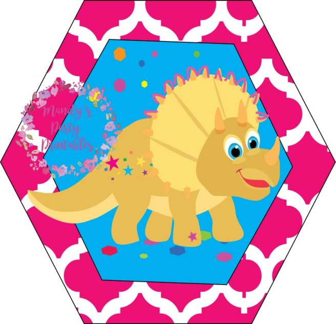 Yellow Girly Dinosaur Cupcake Toppers from Tea Rex T-Party at Mandy's Party Printables