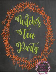 Witches Tea Party Free Printable Sign for Your Halloween Party via Mandy's Party Printables