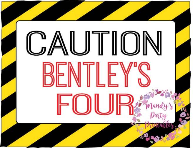 Caution Editable FREE Party Printable Sing via Mandy's Party Printables