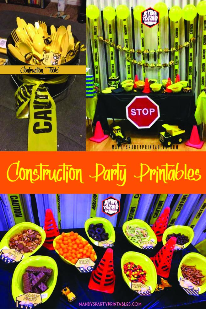 "Picture collage for a Construction Birthday Party with silverware ""tools"", food in construction hats, and caution tape background. 
