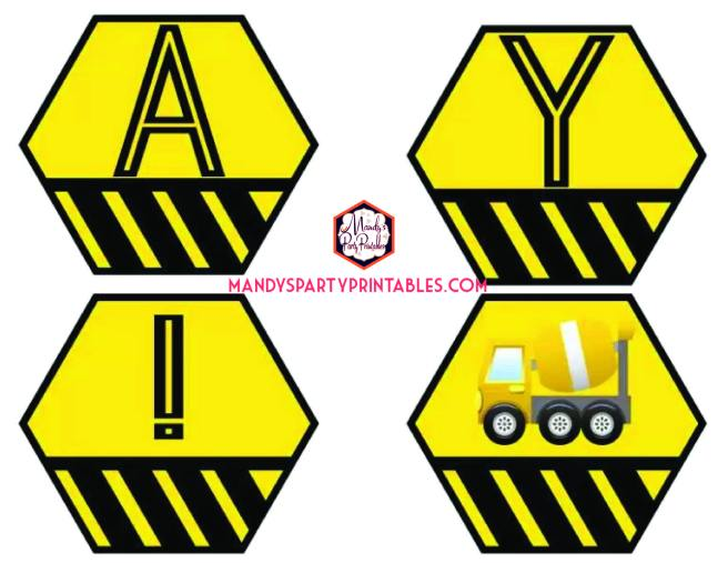Construction Happy Birthday banner | Mandy's Party Printables