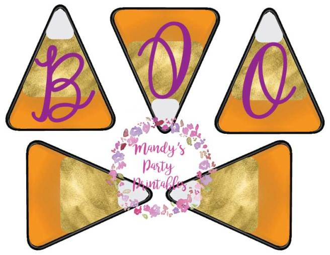 Gold and Orange Candy Corn Banner with BOO! via Mandy's Party Printables