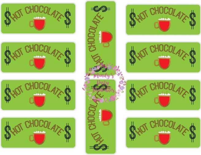 Free Hot Chocolate Stand Printable Hot Chocolate Play Money via Mandy's Party Printables