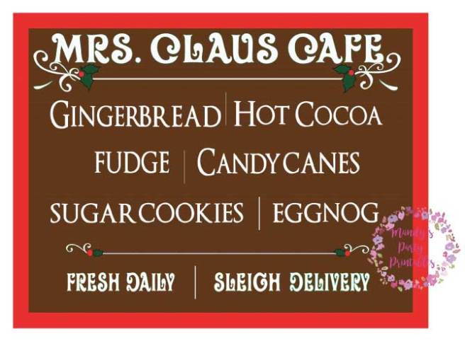 Mrs. Claus Cafe Sign Free Printable via Mandy's Party Printables
