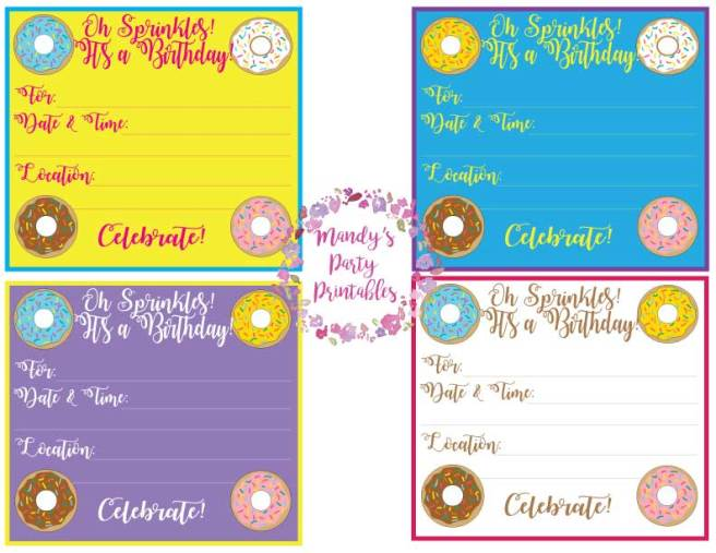 Free Donut Birthday Invite for Donut Party via Mandy's Party Printables