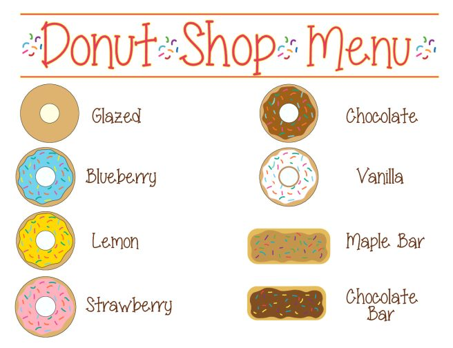 Preschool Dramatic Play Donut Shop Menu Sign by Mandy's Party Printables