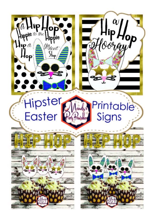 Hipster Easter Printable Signs via Mandy's Party Printables